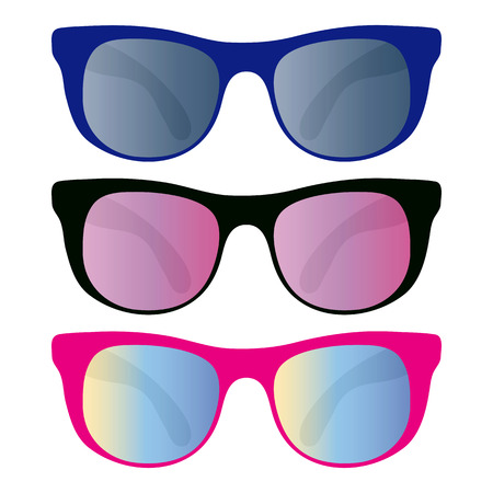 shades: collection of sunglasses isolated on white Illustration