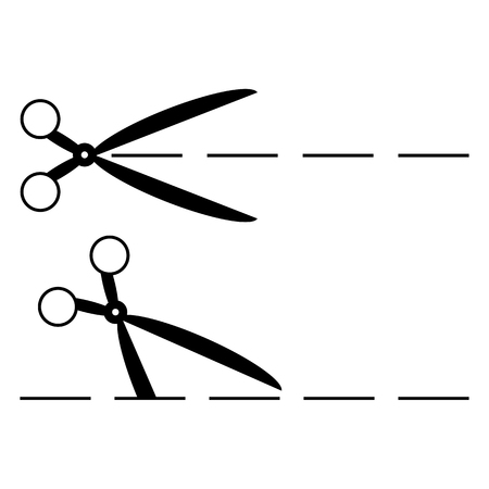 snip: scissors with cut lines  Illustration