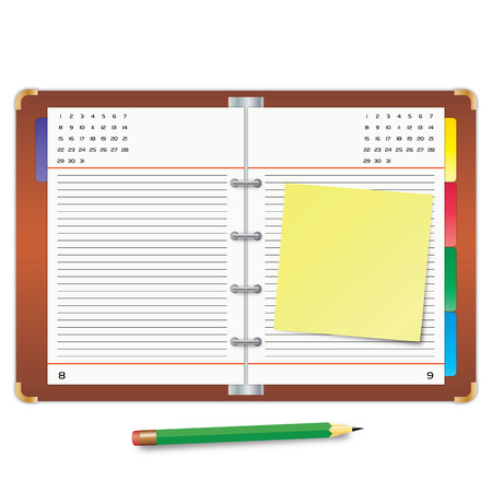 Organizer with the yellow sticky note and green pencil Stock Vector - 7633261