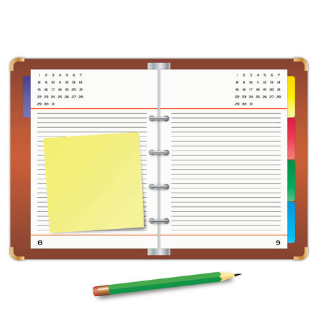 Organizer with the yellow sticky note and green pencil Stock Vector - 7633263