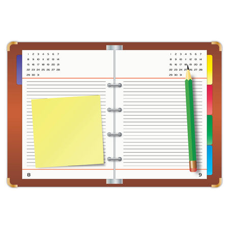 Organizer with the yellow sticky note and green pencil Stock Vector - 7633264