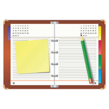 Organizer with the yellow sticky note and green pencil Stock Vector - 7633262
