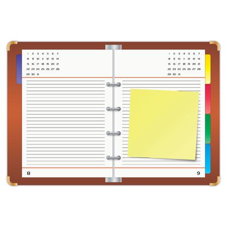 emploi du temps: Organisateur avec la note de sticky jaune.