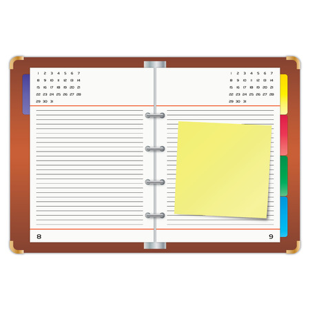 Organizer with the yellow sticky note. 矢量图像