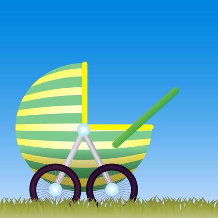 Baby Carriage on the meadow with the blue sky behind. Vector