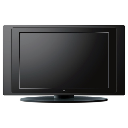 lcd display: Modern LCD TV set over a white background. Illustration