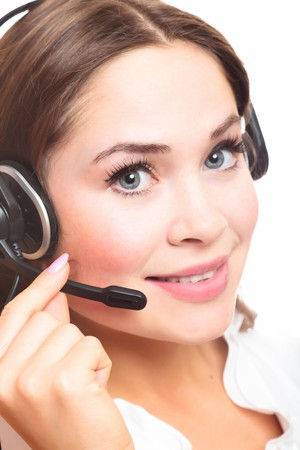 Pretty caucasian woman with headset smiling during a telephone conversation. Stock Photo - 8025799