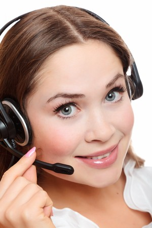Pretty caucasian woman with headset smiling during a telephone conversation. Stock Photo - 8048944