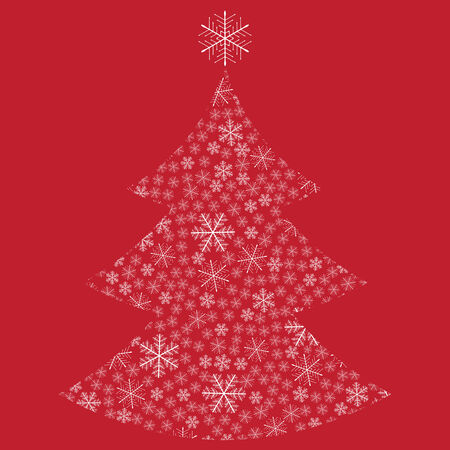 Abstract Christmas tree made of snowflakes  Vector