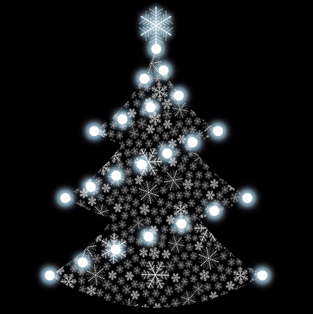 White Christmas tree over a black background. Stock Vector - 8115911
