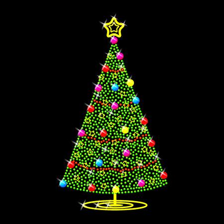 Árboles de Navidad sobre fondo negro  Ilustración de vector