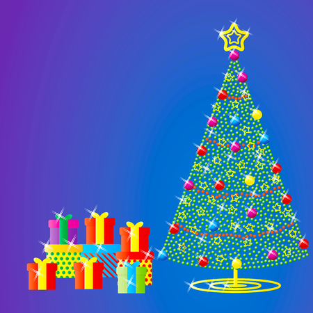 christmas tree over blue background