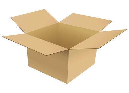 Isolated empty and opened cardboard box Stock Vector - 8178636