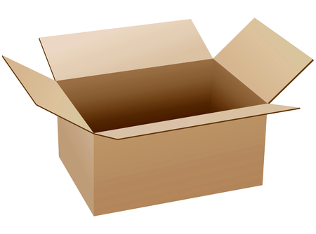 packaging industry: Isolated empty and opened cardboard box