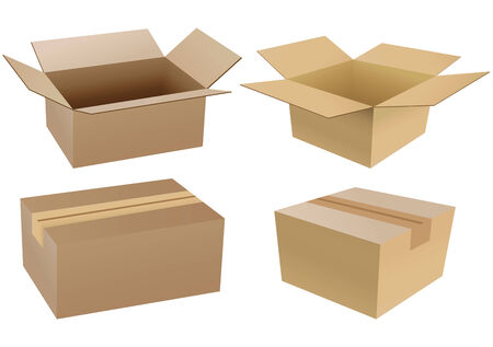 cardboard boxes: Set of carton boxes isolated over a white background Illustration
