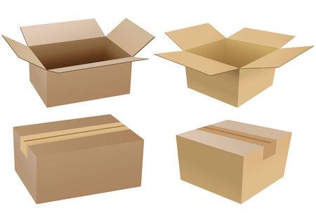 verhuis dozen: Set van kartonnen dozen geïsoleerd op een witte achtergrond