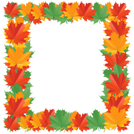 rimmed: Fall leaf border isolated on a white background