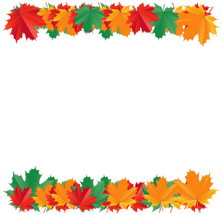 autumnal: Fall leaf border isolated on a white background with a place for text