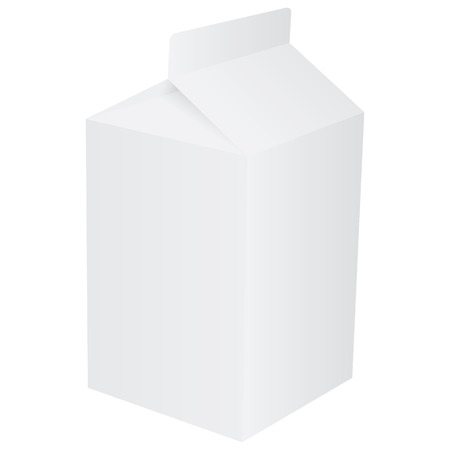 carton: Blank paper carton for milk or fruit juice
