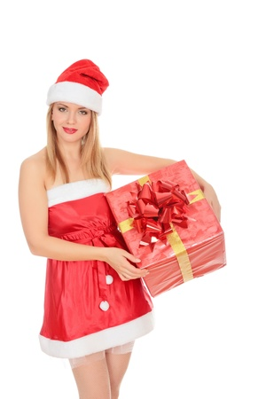 Cheerful santa helper girl with gift box. Isolated over a white background. Stock Photo - 8256801