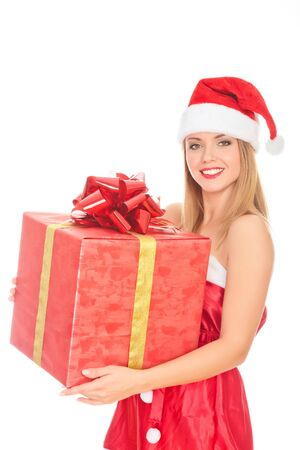 Cheerful santa helper girl with big gift box. Isolated over a white background. Stock Photo - 8256808