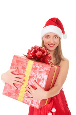 Cheerful santa helper girl with big gift box. Isolated over a white background. Stock Photo - 8256806