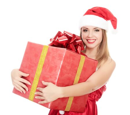 Cheerful santa helper girl with gift box. Isolated over a white background. Stock Photo - 8329459