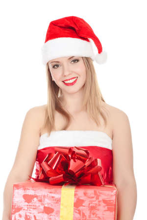 Cheerful santa helper girl with gift box. Isolated over a white background.  photo