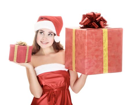 Cheerful santa helper girl with gift boxes. Isolated over a white background.  Stock Photo - 8366909