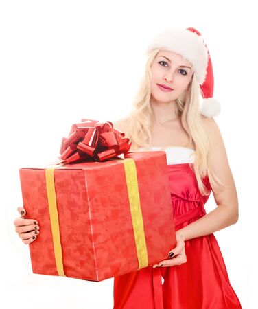 Cheerful santa helper girl with gift box. Isolated over a white background. Stock Photo - 8366910