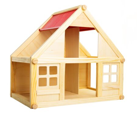 Toy house isolated on white background.  photo