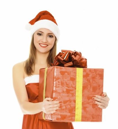 Cheerful santa helper girl with big gift box. Isolated over a white background  Stock Photo - 8418518