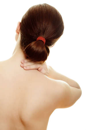 woman massaging pain back isolated over a white background Stock Photo - 8418682