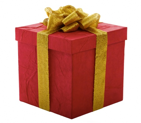 Red gift box with gold bow, isolated over a white background. photo