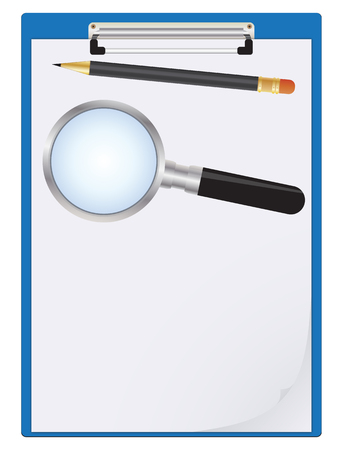 Clipboard, paper sheet, pencil and magnifier  Stock Vector - 8466074