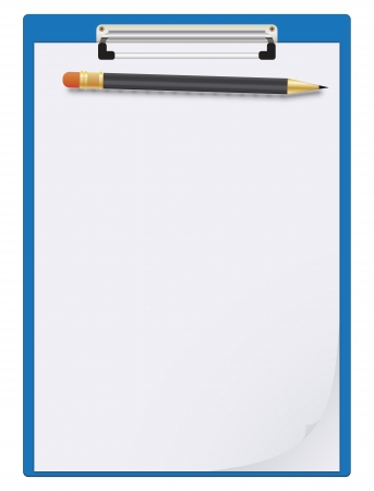 memo pad: Clipboard, paper sheet and pencil Illustration