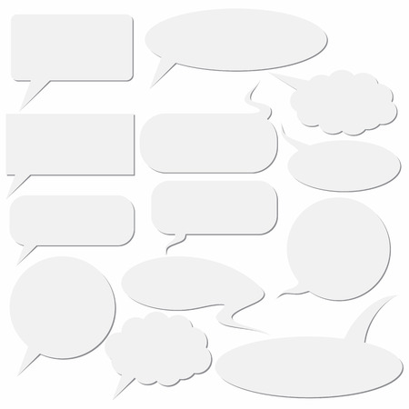 Set of dialog boxes on white background.