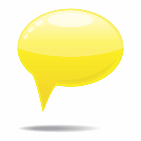 Big yellow speech bubble on white background