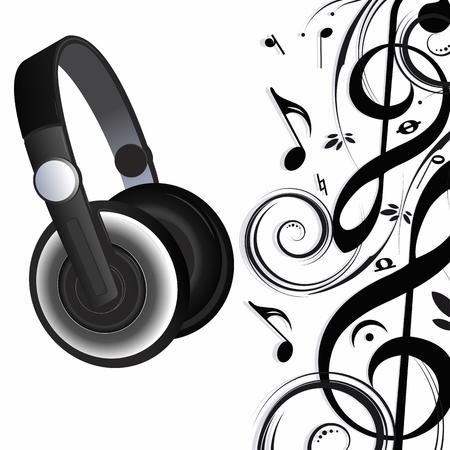 earbud: Auriculares modernas y partituras de m�sica como fondo.