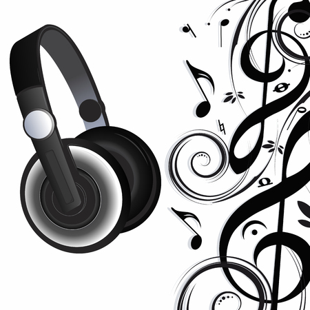 Modern headphones and sheet music as a background.