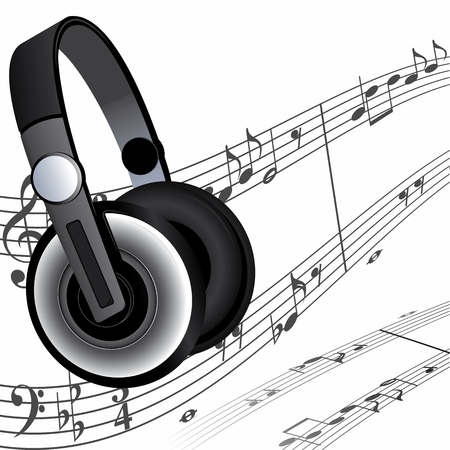 to score: Modern headphones and sheet music as a background. Illustration