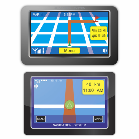 satellite navigation: dispositivos de sistema de navegaci�n  Vectores