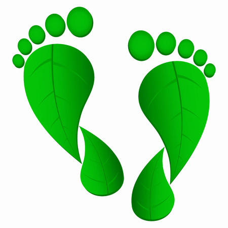 green footprint: green leaf foot prints Illustration