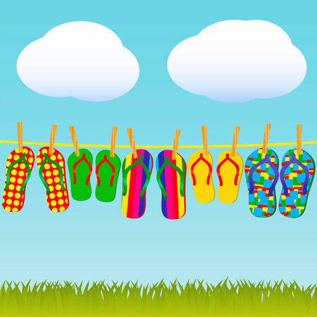 big family: Colorful flip-flops on a rope