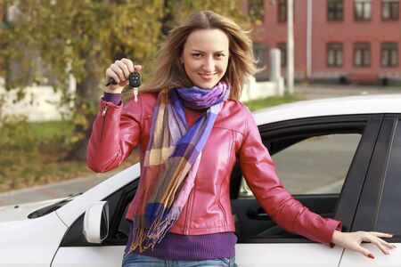 Beautiful young happy woman with car keys Stock Photo - 8710048