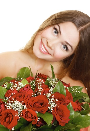 mujer con rosas: Mujer con rosas, aislado sobre fondo blanco.