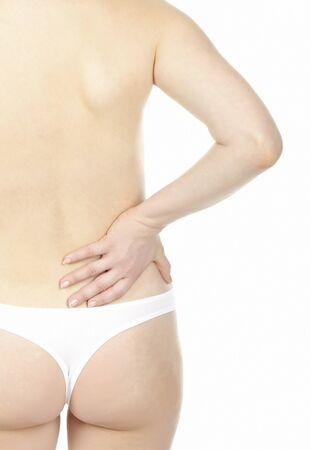 Woman massaging pain back, isolated on white background Stock Photo - 8798054