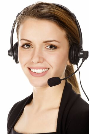 Beautiful customer service operator woman with headset, isolated on white background. photo