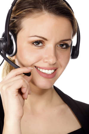 Beautiful customer service operator woman with headset, isolated on white background Stock Photo - 8899048