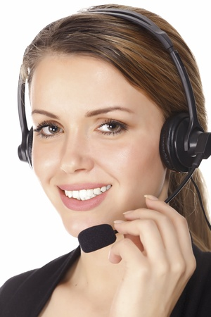 handsfree phone: Beautiful customer service operator woman with headset, isolated on white background